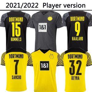 22 22 Dortmund 플레이어 버전 축구 유니폼 Borussia 홈 멀리 2021 2022 Haaland Reus Neongelb Bellingham 축구 셔츠 Sancho Hummels Brandt Men Jersey