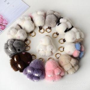 Colorful Cute Mink mini rabbit Keychains pendant car keychain small plush mobile phone bag fur ornaments