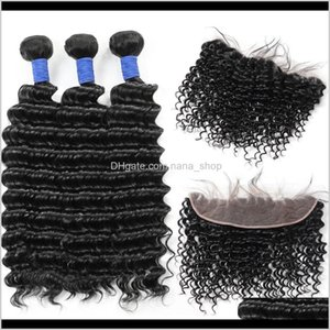 Wefts 10A Brazilian Deep Wave 3Bundles 13*4 Lace Frontal Peruvian Malaysian Indian Virgin Human Hair Bundles With Closure Wholesale Kd Mmuw7