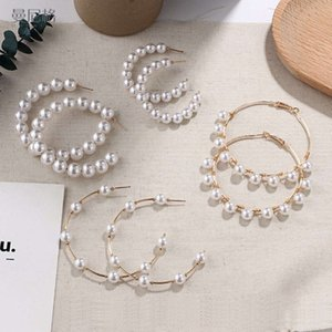 Europe And America C-Shaped Stainls Steel Gold Ring Pearl Hoop Earrings For Women Wedding Jewelry