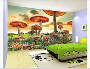 Custom 3D wallpaper Fantasy fairy tale world giant mushroom cartoon landscape painting children's room background Mural wall