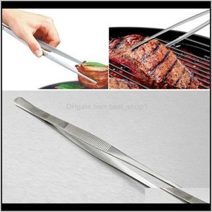 Other Cookware Kitchen Dining Bar Drop Delivery 2021 Bbq Food Tweezers Stainless Steel Industrial Toothed Long Straight Tweezer Home Medical