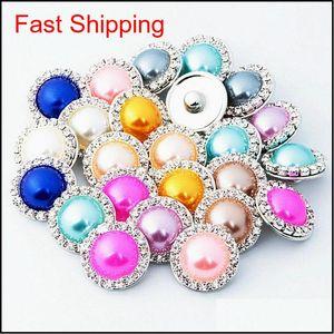 Bracelets Chunks 18Mm Ginger Snaps Crystal Rhinestone Faux Pearl Charm Diy Fit Snap Button Bracelet Necklace Jewelry In Bulk Wholesale Rnsfz