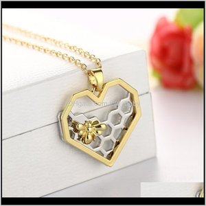 Pendant Drop Delivery 2021 Wholesale- Chic Sier Gold Bee On The Honeycomb Necklaces & Pendants Hexagon Comb Hive Necklace For Women Jewelry Y