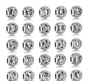 925 Sterling Silver European Charms Vintage A-Z Round Letter bead Fit Pandora Style Bracelets DIY Loose Charm