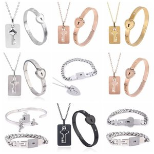 Couple Lovers Jewelry Love Heart Lock Bracelet Stainless Steel Bracelets Bangles Key Pendant Necklace Drop Bangle