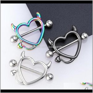 Body Drop Delivery 2021 1 Pair 14G Stainless Steel Breast Piercing Jewelry Heart Nipple Piercings Barbell Sexy Bar Rings Shield Er Kydtv