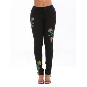 Summer Woman's Color Stretch Hole Embroidered Jeans For Women Pants Breeches Overalls Vintage Female Torn Trousers Women's