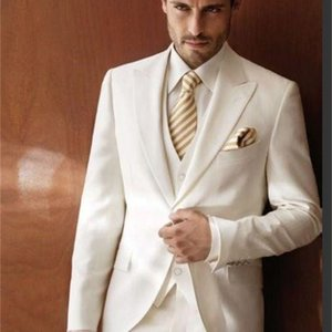 White Peaked Lapel Groom Tuxedos (Jackey+Vest+Pants) 3 Pieces Men Suits Custom Made Formal Business Wedding Prom Party terno