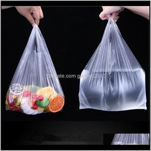 Gift Wrap Event Festive Party Supplies Home & Garden Drop Delivery 2021 100 Pcs Pack Transparent Shopping Bag Supermarket Plastic Bags With H