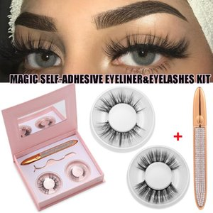 Pairs 3D Faux Mink False Eyelashes With A Magic Self-Adhesive Eyeliner Pen Natural Long Fluffy Lashes No Glue Needed Fast Dry