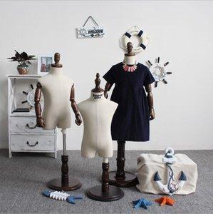 Linen children's solid wooden hand half body models Commercial Furniture window display model rack