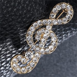 Novo Designer Musical Nota Broche Scarf Pins Brilhante Cristal Rhinestone Broche para Mulheres Casamento Noiva Broche Jóias Presente 1166 Q2