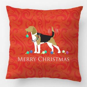 Beagle Feliz Navidad Caja de almohada Caja de almohada Cubierta decorativa Funda de almohada Personalizar Regalo de alta calidad por LVSURE para Sofá Cojín de asiento / DEC