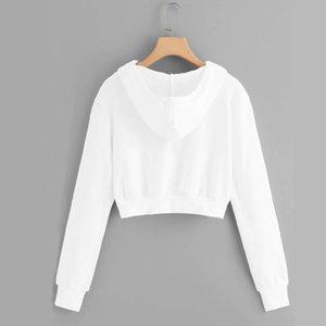 Short Sweatshirt Ladies Zipper White Hoodie Clothes Top Warm Soft Full Sleeve Women Crop Pullover Women's Hoodies & Sweatshirts