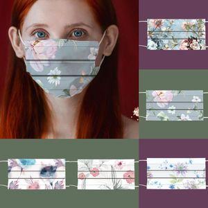 Цветочный узор Распечатать 3 слоя мультфильм одноразовые маску вечеринки мужчины женщины 95% эффективность фильтрации пылезащитный профилактика масок гриппа
