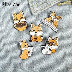 Fox Coffee Enamel Pin Custom Lover Drink Newspaper Brooches Bag Lapel Pin Cartoon Animal Badge Jewelry Gift for Kids FriendsDIO CHAN CONTACT