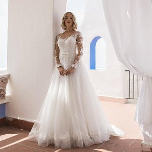 Scoop Neck A Line Long Sleeves Lace Wedding Dresses with Sash Appliqued Sweep Train Tulle Bridal Gowns Vestidos De Novia