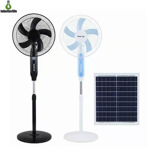 Solar Electric Fan Standing Floor Desk 16 inches 3 Gears with Adapter For Home Office