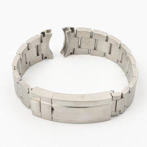 20 ملليمتر 904l الفولاذ المقاوم للصدأ watchband لتناسب دور-x subhariner الفضة خاص قوس نهاية المعصم حزام سوار الرجال فراشة مشبك