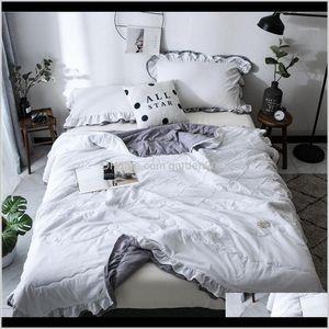Comforters Sets Denisroom White Cute Washed Seersucker Summer Quilt Blankets Quilted Bedspread Lace Comforter Bed Cover We441 Jyzga 4Ec97