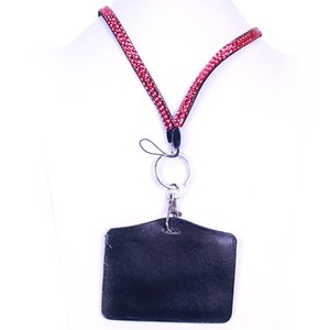 Rhinestone Crystal Card ID Badge Holder with Lanyard Rope Bling Vertical ID Business Card Case Office Papelaria Supplies 934 B3