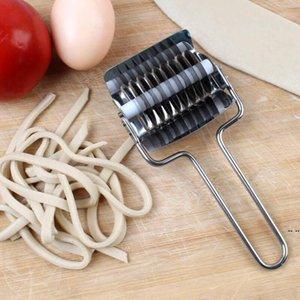 Outils de pâtisserie en acier inoxydable Noue de nouilles de treillis à rouleaux de cuisson d'échalote Pâtes Spaghetti Maker Machines Manuelle Dough Presse HWD5913