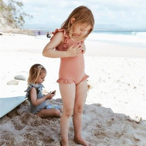 One-Pieces 2021 One Piece Swimwear Baby Girl Solid Color Swimsuit Swimming Suit Children Little Girls Summer Holiday Beach Wear