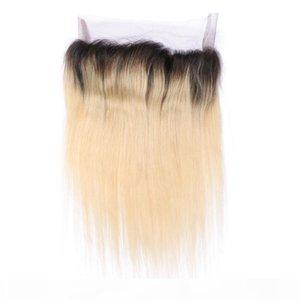 Banda rubia brasileña Ombre 360 Lace Frontal Band # 1b 613 Cabello humano de dos tonos con encaje frontal recto 360 banda de encaje cierre frontal