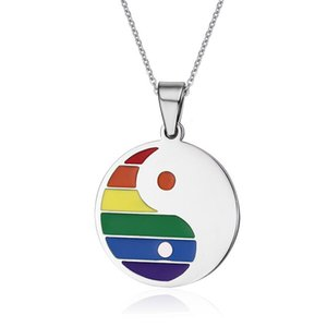 Yin Yang Jewelry Stainless Steel Rainbow Gay Pride Pendants With Tai Chi Bagua Design Pendant Necklaces
