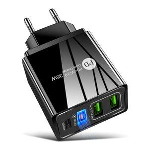 4 포트 빠른 3.0 USB PD 충전기 EU US US UK 플러그 벽 아이폰 삼성 태블릿 휴대 전화 어댑터 빠른 충전