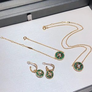 Have Stamp Brand High Quality Charm Bracelets Earrings Necklace Jewelry Set Green Star Golden Bracelet Girls Gift with Box Fast Delivery