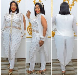 Women Fashion Two Piece Pants Sets Long Sleeve Lapel Neck Crystal Beading Jacket Top and Skinny Pants Plus Size African Womens Set Suits JN1