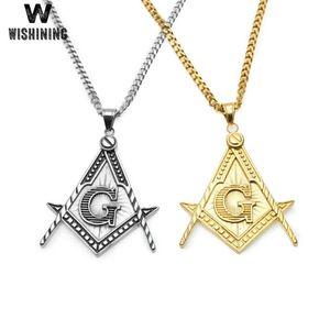 Mens Punk Antique Silver Color Masonic Symbol Pendant Necklace Stainless Steel Freemason Charm Necklaces