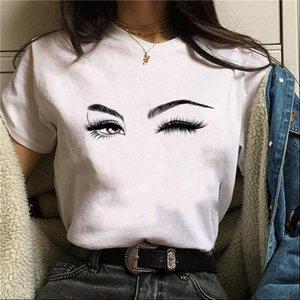 Makeup Art Women T Shirt Eyelashes Print Vogue Kawaii Streetwear Hipster Summer Cotton Tops Woman Clothes