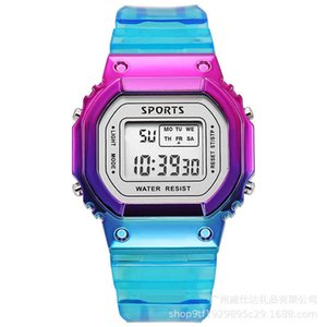 ins colorful electroplating small square electronic watch student children multifunctional waterproof luminous LED