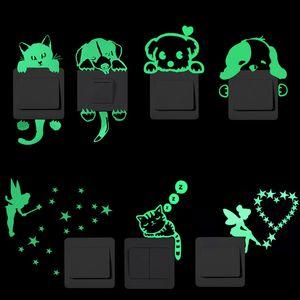 Cartoon Luminous Switch Sticker Glow in the Dark Wall Stickers Home Decor Kids Room Decoration Sticker Decal Cat Fairy Moon Star GWC7688