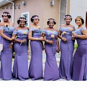 Arabic Style Purple Mermaid Bridesmaid Dresses Off Shoulder long Cheap Lace Bodice Plus Size country Backless Fitted Prom Evening Gowns