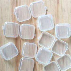 혼합 된 크기 스퀘어 스퀘어 빈 미니 클리어 플라스틱 컨테이너 케이스 뚜껑 작은 상자 쥬얼리 귀마개 저장