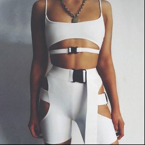 Summer Womens Tracksuits Two Piece Set Sexy Women Clothes Sportswear Fitness Sports Bandage Solid Crop Top Shorts 2PCS