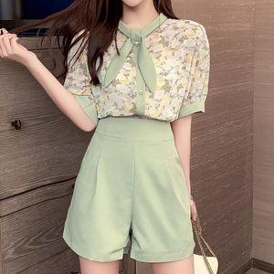 Summer Korean Fashion Chiffon 2 Piece Sets Womens Outfits Casual Blouse Shirts+high Waist Slim Wide Leg Shorts Women's Tracksuits
