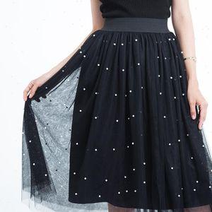 3 Layers Women Skirt Tulle Beading Skirts Spring Mesh With Bead Tutu Elastic Waist Pleated