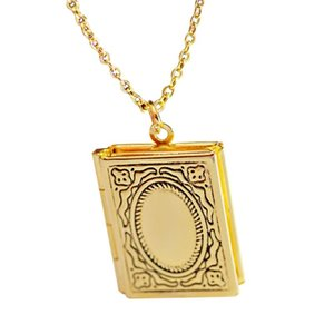 Women Daily Gift Book Square Shape Portable Hanging Neck Carrier Pendant Vintage Floating Locket With Rope Picture Box Necklaces