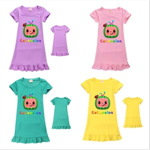 CoComelon Ji Boys Pattern Cute Girls' Dress Kids Multicolor Short Sleeve Round Neck Candy Home Dresses Skirt Clothes 110-150cm GG494T2G