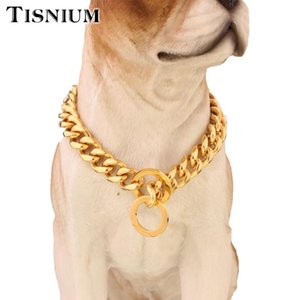 Tisnium 12mm Strong Stainless Steel Dog Leash Chain Collar Choker Slide Adjustment Size Gold Color Cuban Link Wholesale Chains