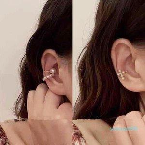 Pearl Ear Cuff Pearls Cross Clip Earrings Fake Piercing Ear Cuff Women Clips Jewelry Ear Accessorie