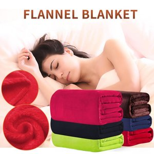 Blankets Soft Warm Air Conditioning Pure Color Blanket Flannel Gift Plain