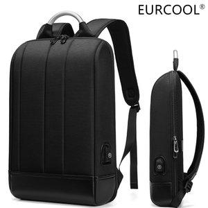 EURCOOL business thin laptop 15.6-inch office work men's unisex black slim super light backpack 201119