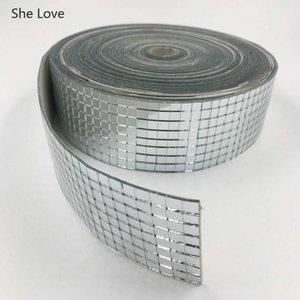 Chzimade 1Roll Self-Adhesive Square Glass Mosaic Tiles For DIY Bathroom Mirror Wall Sticker Handmade Crafts Home Decor