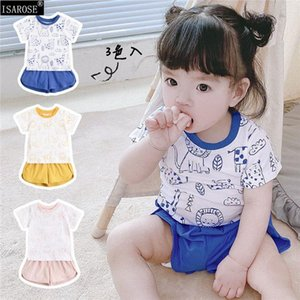 Clothing Sets ISAROSE KIDS Boy Girl Clothes Doodle Cartoon Animals Summer Casual Cotton Short For 0 1 2 3 4 Children Pullover Streetwear